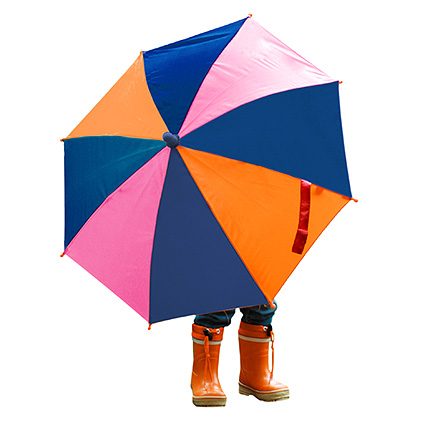 Child with wellies under an umbrella